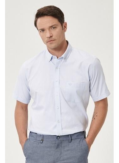 Beymen Business Regular Fit Armürlü Gömlek 4B2020200107 Mavi